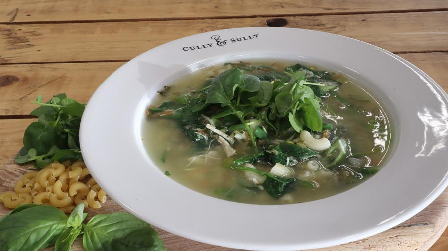 Chicken Broth With Spring Onion, Spinach And Watercress