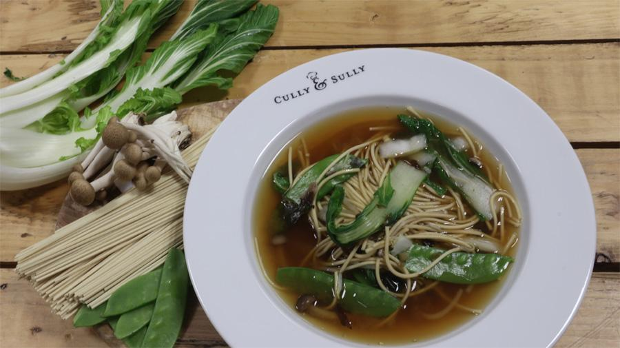 Miso Broth With Noodles, Mushrooms & Sugar Snaps