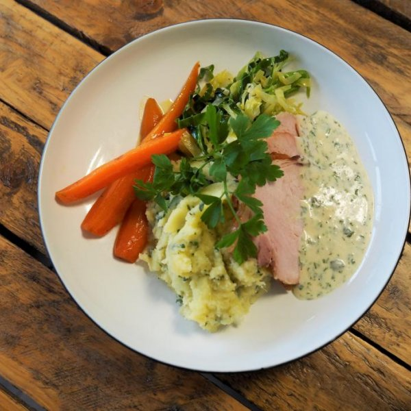 Smoked Loin Of Bacon With Wild Garlic Mash, Buttered Cabbage And Parsley Sauce