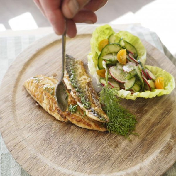 Pan Fried Mackerel With Cucumber Radish And Dill Salad