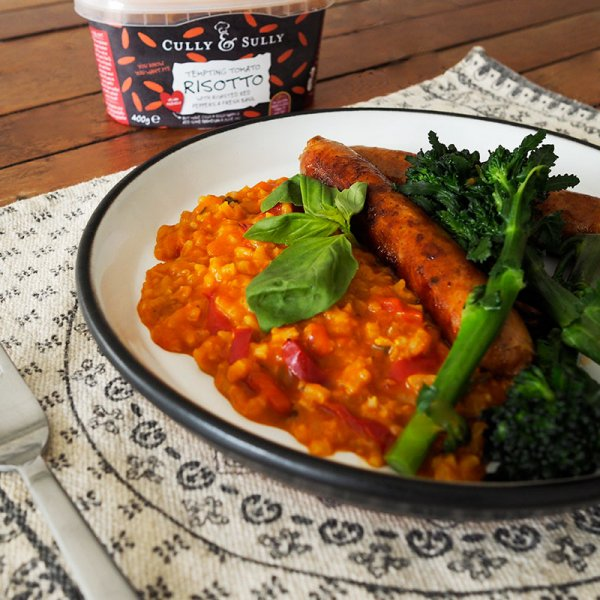 Tomato Risotto with Mediterranean sausage and tender stem broccoli